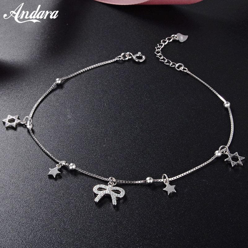 Summer Style 100% 925 Sterling Silver Star Anklet for Women Simple Bow Anklets Fine Jewelry