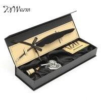 KiWarm Vintage Black Swan Feather Quill Metal Dip Pen Set With 5 Nips Writing Ink Set