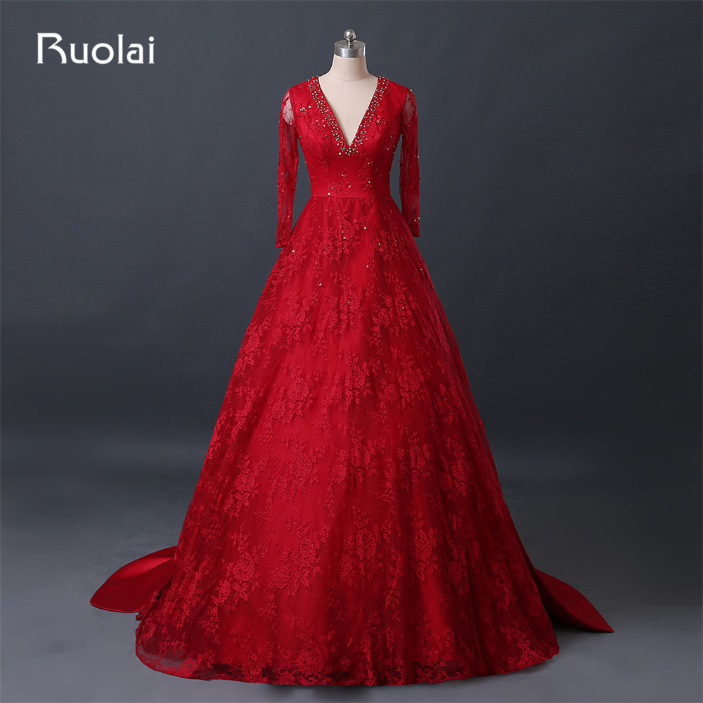 Gorgeous Red Ball Gown Prom Dresses 2017 V-Neck Long Sleeve Beaded ...