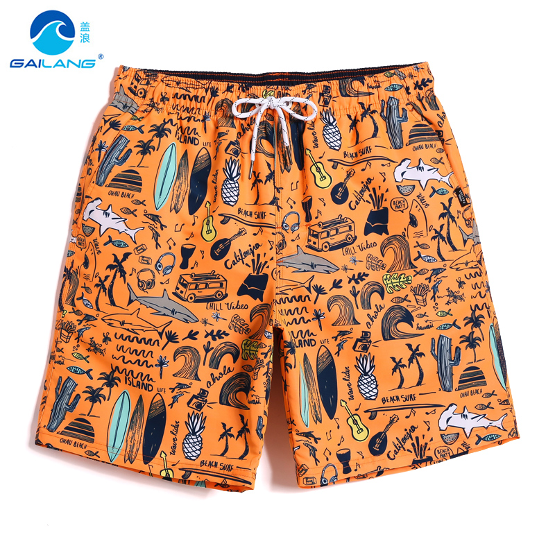 Men's bathing suit   Board     shorts   swimsuit joggers hawaiian bermudas briefs mesh   shorts   plavky printed orange beach   shorts