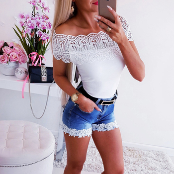 Shorts Women Summer Casual Mid Waist Lace Patchwork Ripped Skinny Jeans Laides Streetwear Fashion Female Denim Short jean D30 white floral lace patchwork denim jeans
