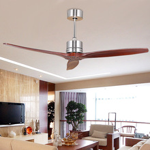 Modern Ceiling Fan Mute with Simple Hollow Wooden Blades Home Decoration Remote Control 52 Inch Brown