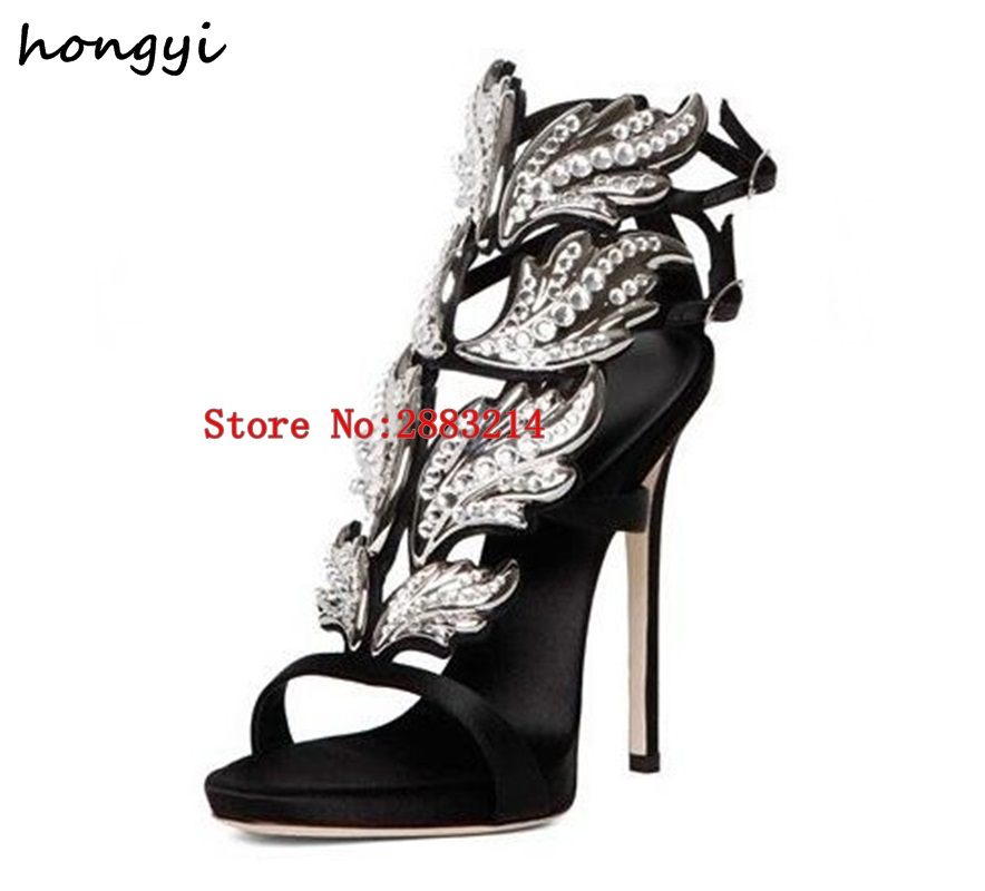 Sexy Bling Crystal Drilled Angle Wings High Heel Sandals Shiny Leather  Bridal Gold Plated Winged Gladiator Wedding Sandal Shoes-in High Heels from  Shoes on ... bc0495d8afe5