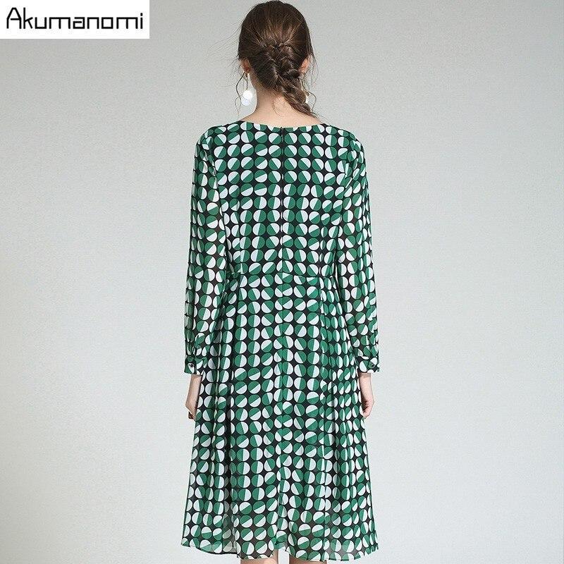 Verde 3xl Mediados De 2xk Completa Gasa Más V Dot 4xl m Otoño Manga Mujeres Vestido Tamaño 5xl becerro cuello De Primavera Imprimir Drapeado Ropa wY1WPOxn