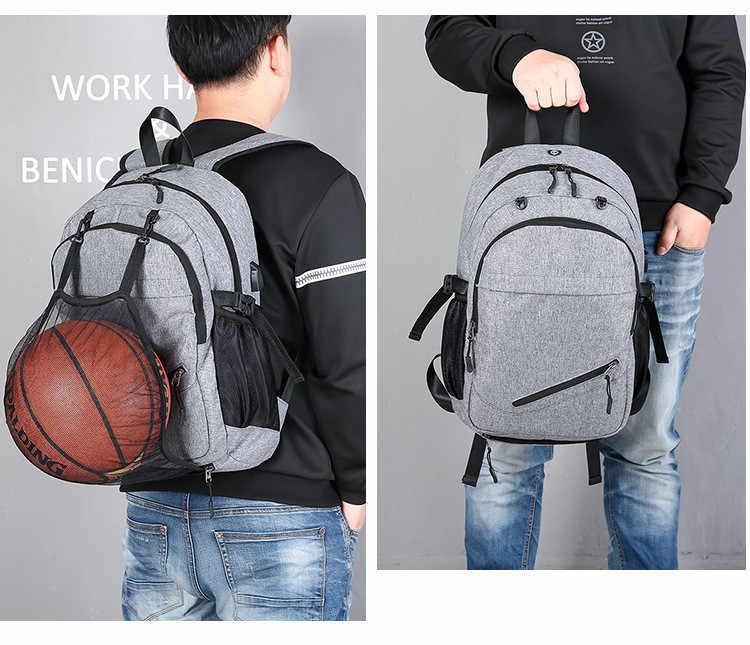 Мужской рюкзак с сеткой для мяча FengDong, серый или черный водонепроницаемый школьный или дорожный рюкзак для мальчиков, с сеткой для мяча, с USB-разъемом и местом под ноутбук, осень 2019