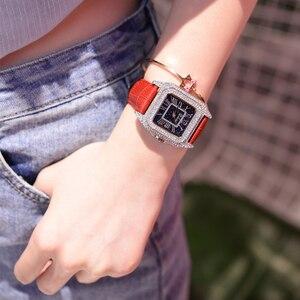 Image 4 - 2019 moda marka kadınlar kare bilezik saatler bayanlar en lüks deri kayış taklidi quartz saat yeni kadın Casual saat