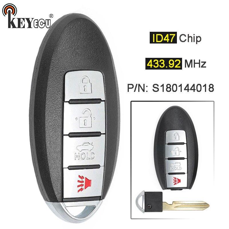 KEYECU 433.92 MHz ID47 P/N: s180144018 Substituição Remoto Inteligente Chave Do Carro Fob 3 + 1 4 Botão para Nissan Altima Maxima 2013 2014 2015