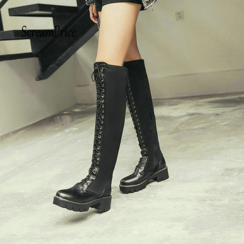 Fashion Black Lave Up Platform Thick High Heel Knee High Boots Riding Boots Winter Women Shoes esveva winter zipper pu platform shoes women thick high heel knee high boots buckle lady black riding boots big size 34 43 page 4