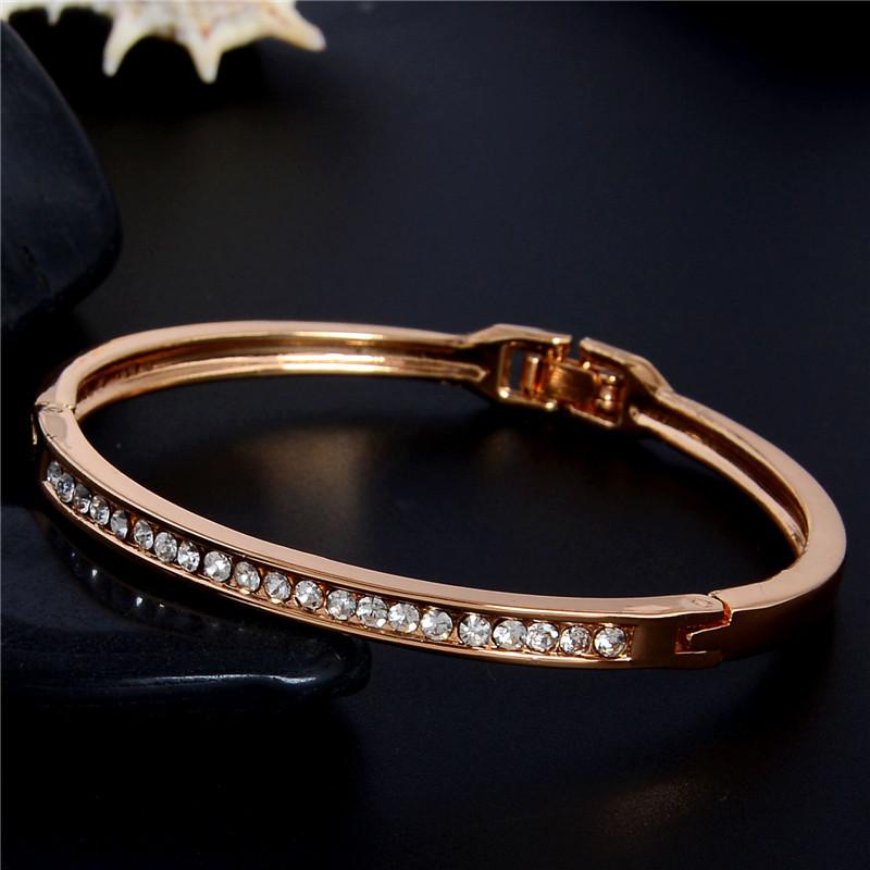 SHUANGR Fashion Rose Gold Color Jewelry Austrian Crystal Classic Lady's Closed Bangle Bracelets, Women's Bracelet 8