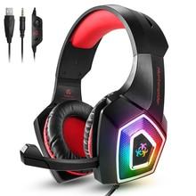 Hunterspider V1 משחקי אוזניות על אוזן אוזניות wired בקרת עם מיקרופון LED אור גיימר קסדה אוזניות למחשב PS4 Xbox אחד