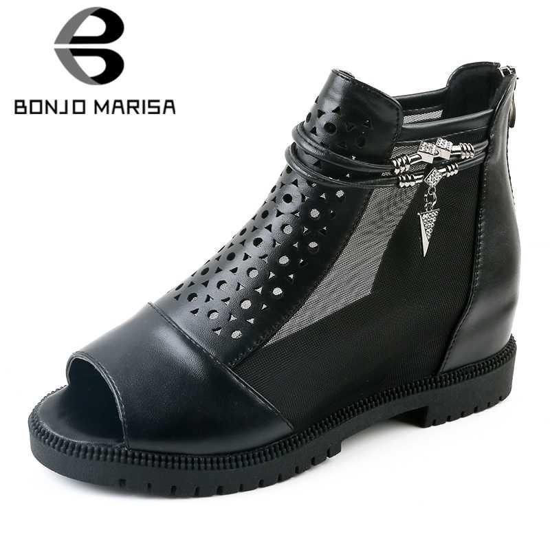BONJOMARISA 2019 Moda Iç Topuklu Hava Mesh Ayakkabı Yaz Bayan kadın ayakkabısı Eğlence Peep Toe Yaz Çizmeler Kadın