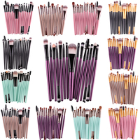 MAANGE Professional 15 Pcs Sets Eye Shadow Foundation Eyebrow Lip Brush Makeup Brushes Comestic Tool Make