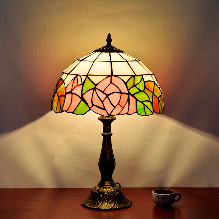 Hot sale 30cm Continental Rose Bedroom Retro Table Lamp Restaurant American Tiffany LED Table Lamp