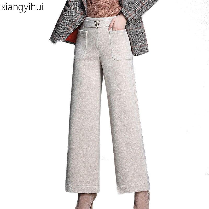 Autumn Winter Fashion Wool   Wide     Leg     Pants   High Waist Elasticity Long Trousers Female Women's Warm Loose   Pants   Large Size M-4XL