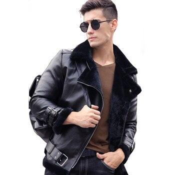 2018 Fashion Warm Faux Rabbit Fur Winter Mens Fur Coat Aviator Motorcycle Biker Faux Leather Jacket Men Suede Overcoat Plus Size