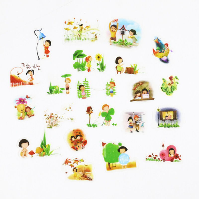 20pcs/bag Cute Creative transparent sticker child diy toy Watercolor cartoon sticker scrapbooking seal sticker kawaii stationery