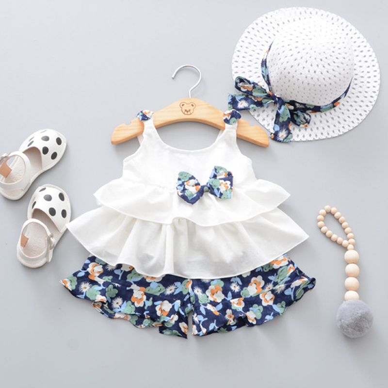 2018 Summer Newborn Baby Girl Clothes Strap Bow Vest + Floral Shorts + Fashion Hat 3Pcs Set Baby Clothing Suit For Girls Clothes милашка короткие бирюза