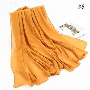 Image 4 - 1 Pc Hot Sale Bubble Chiffon Scarf Shawls Big Size 180*85cm Two Face Plain Solider Colors Hijab Muslim scarves/scarf 22 Colors