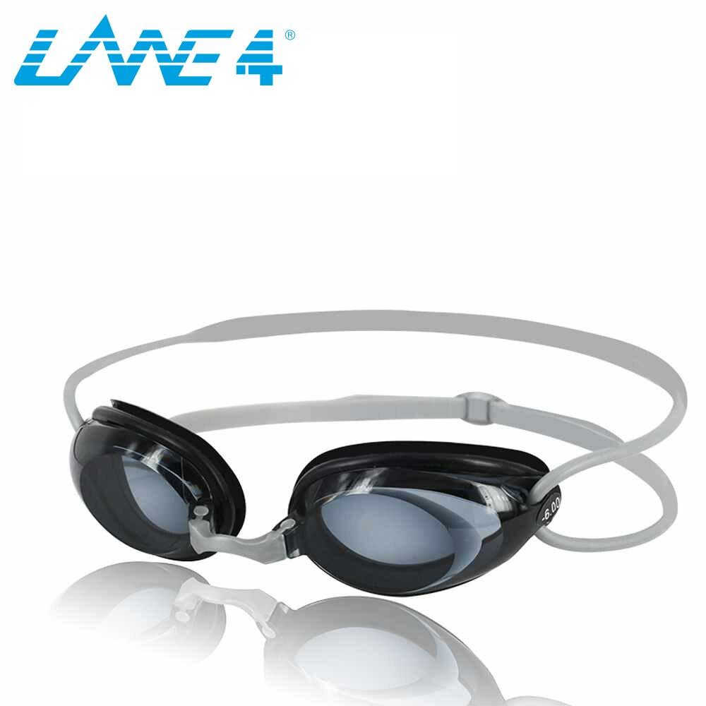 LANE4 Optické brýle na plavání Hydrodynamický profilový rám Silikonová těsnění Anti-fog UV ochrana pro dospělé ŠEDÁ # 2195