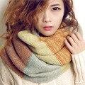 Nova Moda 2016 Anel Scarf Mulheres Lenços Misturar Cores Xaile de Malha Neck Enrole Engrossar Inverno Quente Cachecol Anel Marca de Luxo