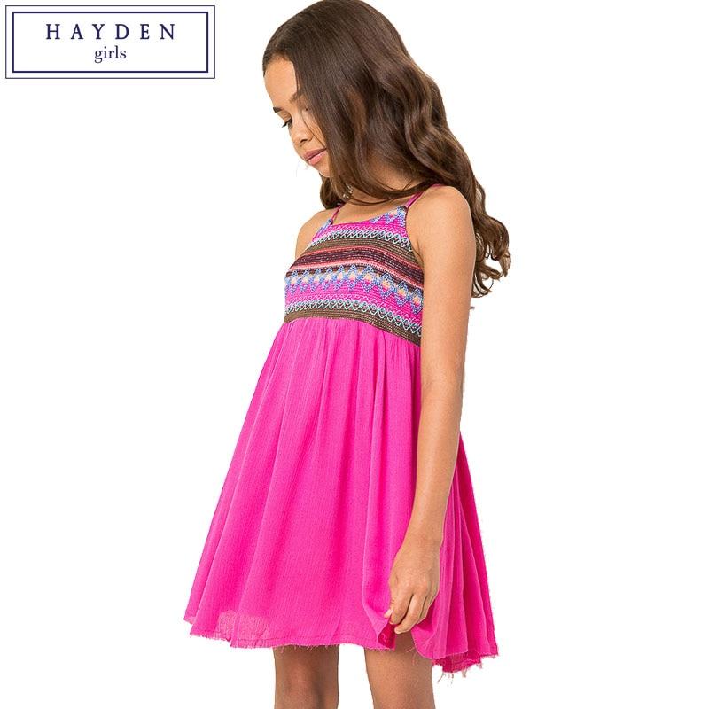 Hayden Girls Halter Strap Bohemian Beach Dress Girl Kids -3243