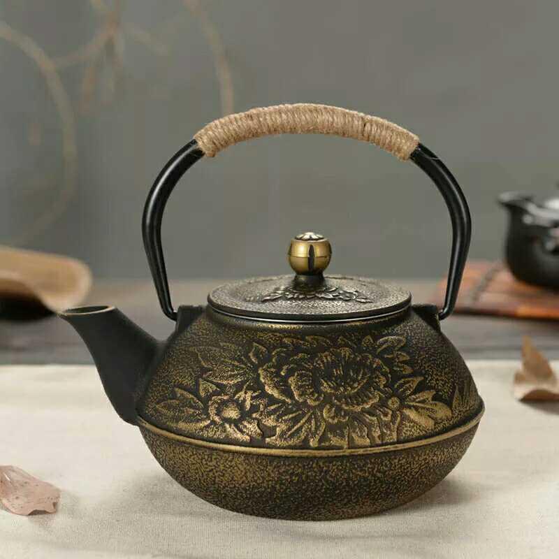 Forró eladás Öntöttvas edény bevonat nélküli vas teáskanna Japán déli részén, japán Kung Fu szerszámok Rozsdamentes acél szűrő Peony Teakettle 800ml