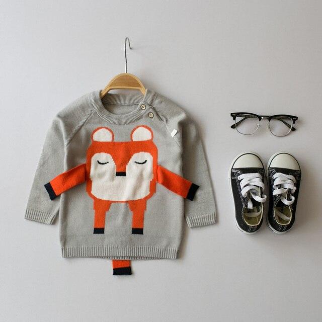 Горячие 2017 весенние и осенние детей свитер мальчиков и девочек мультфильм лиса свитер младенческой свитер серый