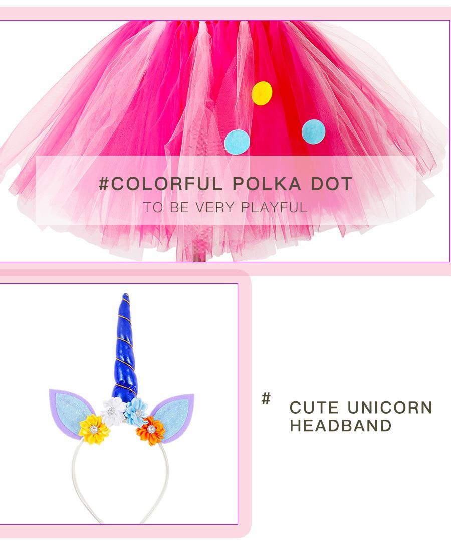 Girls Rainbow Tutu Dress with Unicorn Headband Children Princess Fancy Party Dress Christmas Halloween Kids Pony Costume (3)