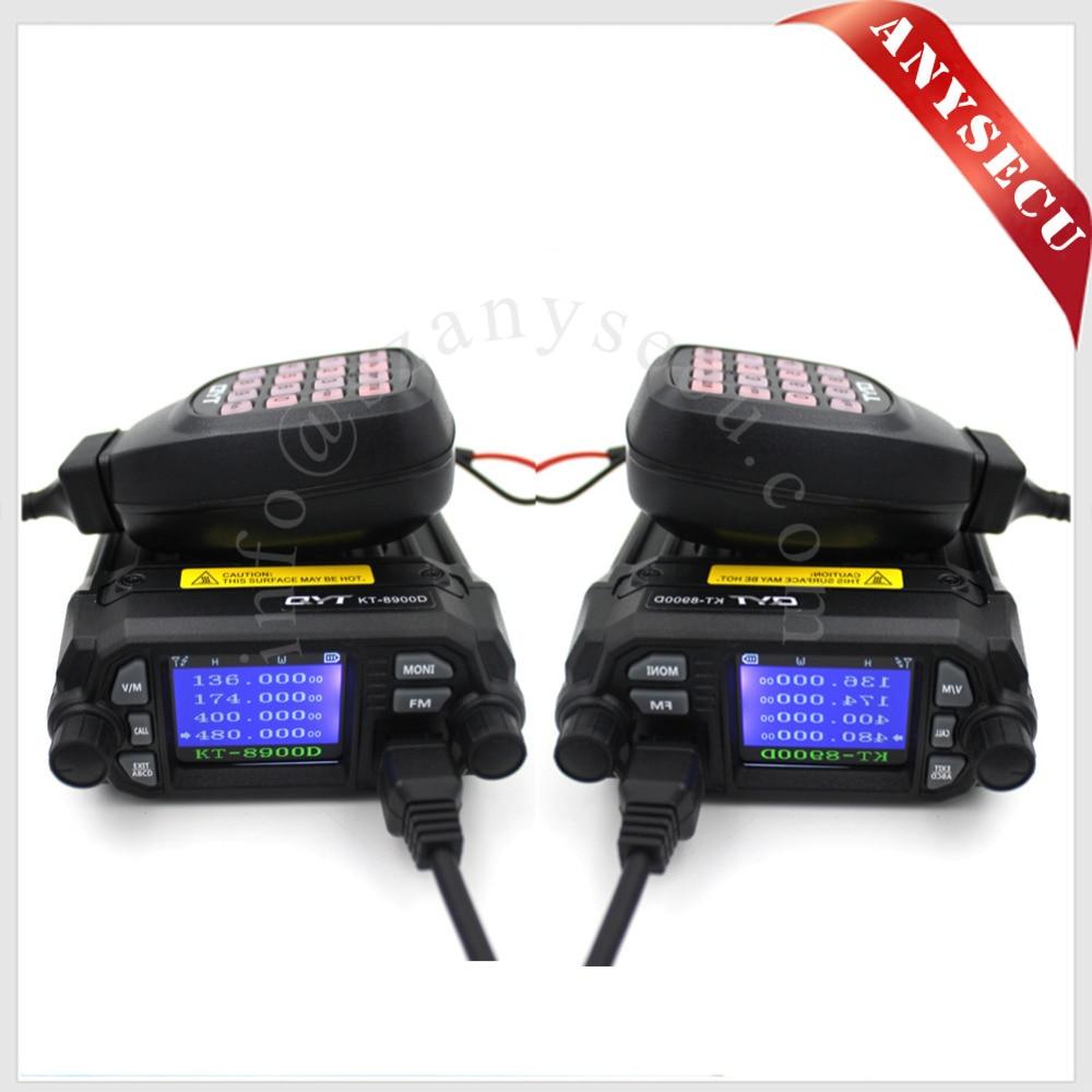 2 PCS NOUVEAU Produit! Mini voiture radio QYT KT-8900D 136-174/400-480 MHz double bande quad dsiplay 25 W mobile transicever KT8900D