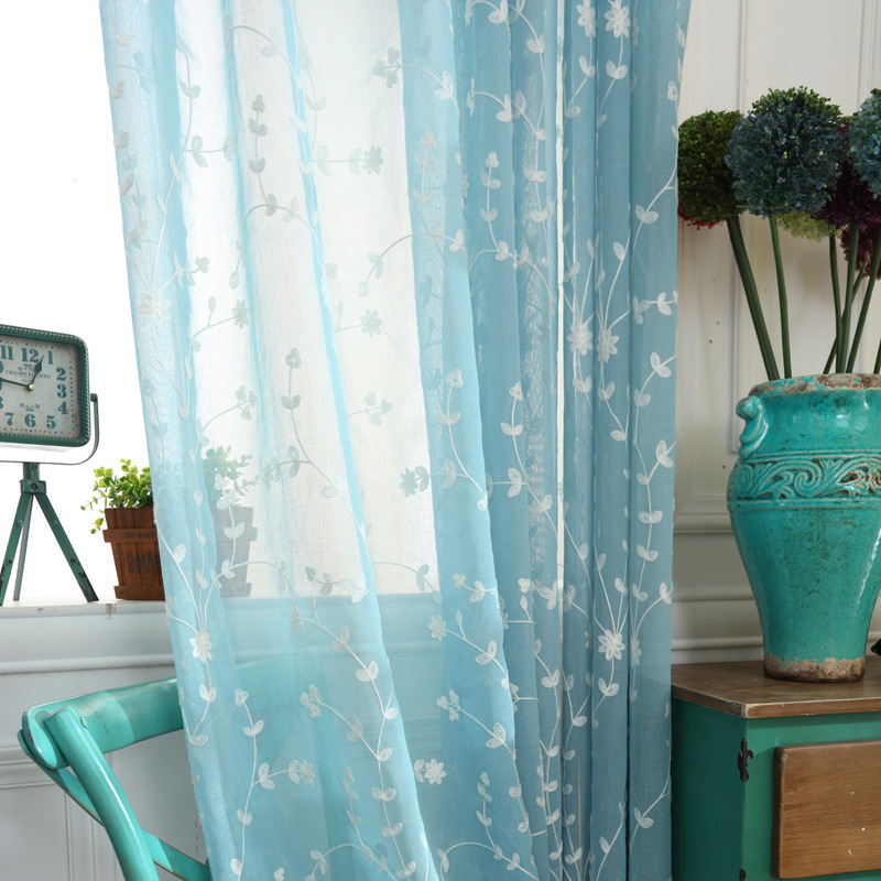 Modern Tulle Curtain Window Bedroom Living Room Blue Embroidered Curtains Korean Wind Vertical Blinds Customizable Size
