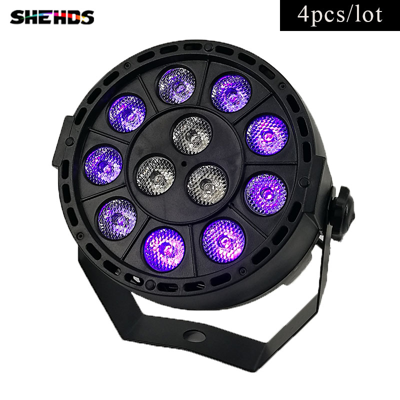 4pcs/lot LED Flat Par 12x3W Ultraviolet Color Lighting LED Stage Light Par With DMX512 For Disco DJ Projecto Party Decoration