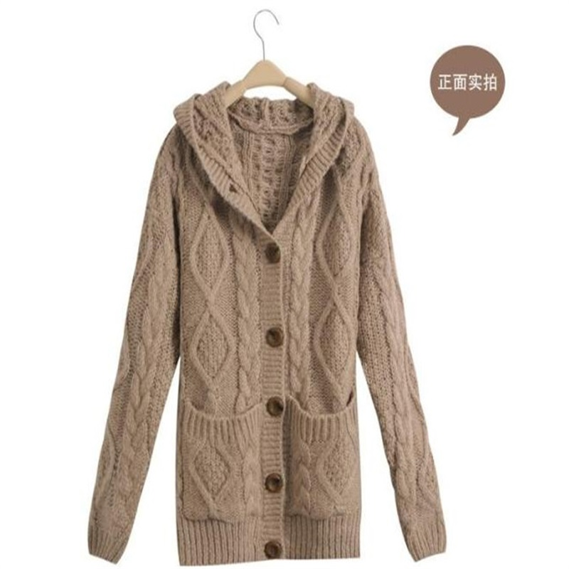 Autumn and winter new Korean long paragraph pocket twist straight hooded knitted sweater loose sweater coat