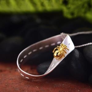 Image 2 - 蓮楽しいリアル 925 スターリングシルバー手作りのクリエイティブ勤勉アリデザインネックレスなし女性のためのギフト
