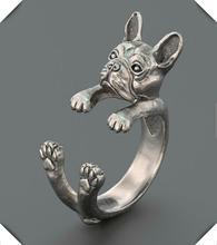 Кольцо с французским бульдогом кольцо животными в стиле хиппи