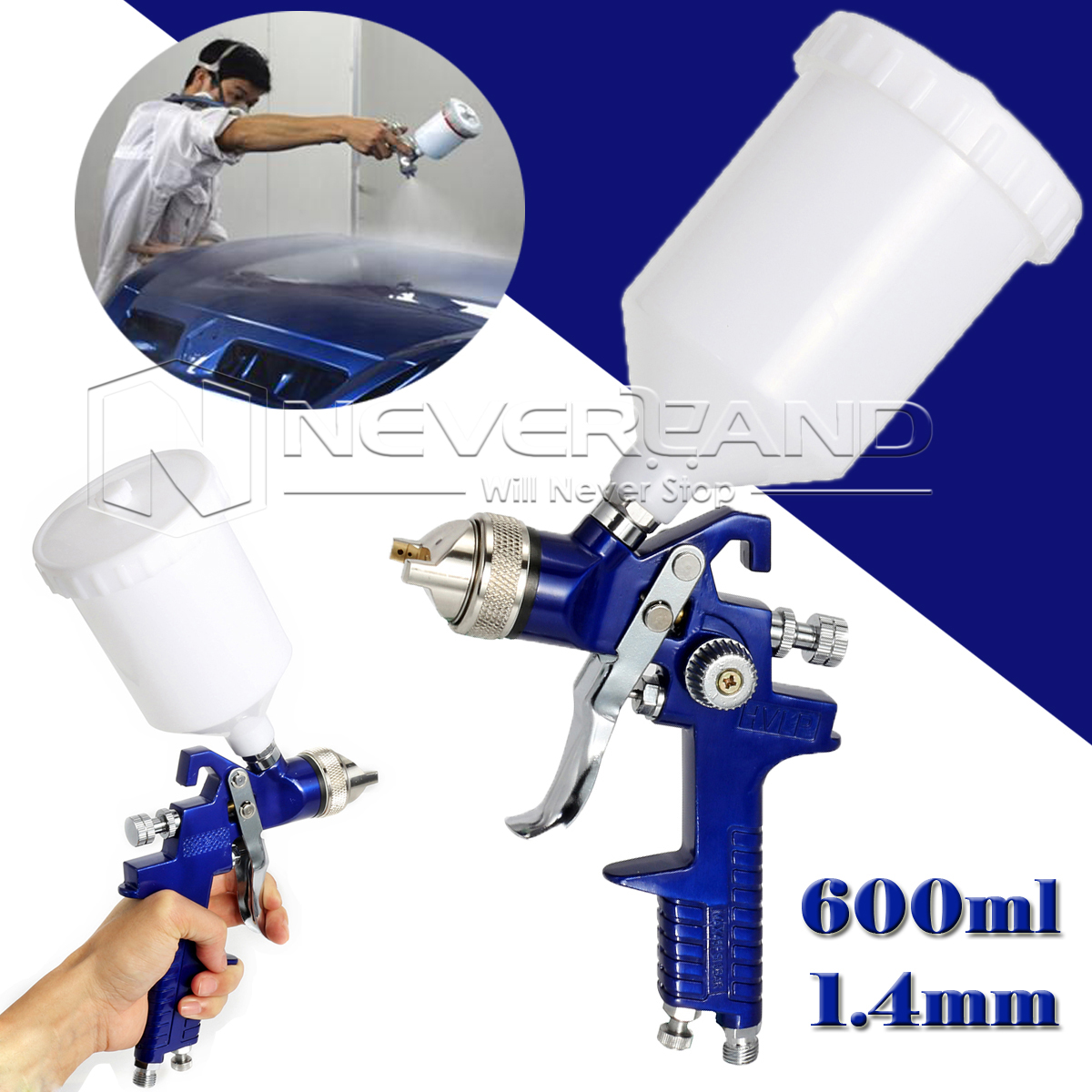 ФОТО Top Quality 1.4mm Nozzle 600ML HVLP Professional Spray Gun Air Spray Paint Guns For Car Auto Repair Tool Painting Kit
