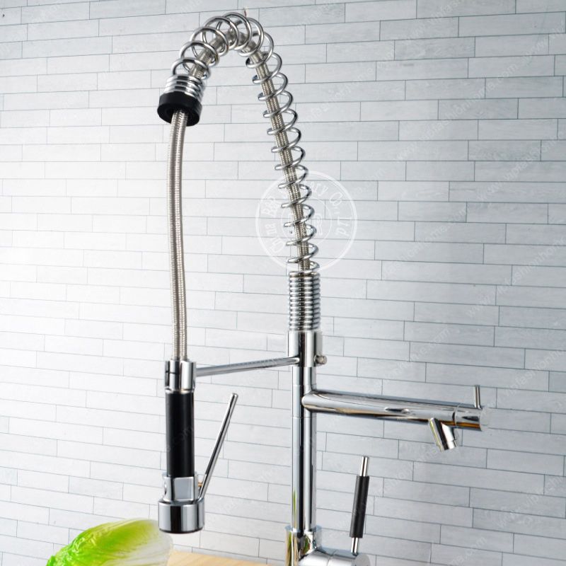 Spring/pull Out Brass Stainless Steel Kitchen Faucet Hot And Cold Wall  Mounted Chrome Solid Spray Water Tap Mixer Sink CH 8005 In Kitchen Faucets  From Home ...
