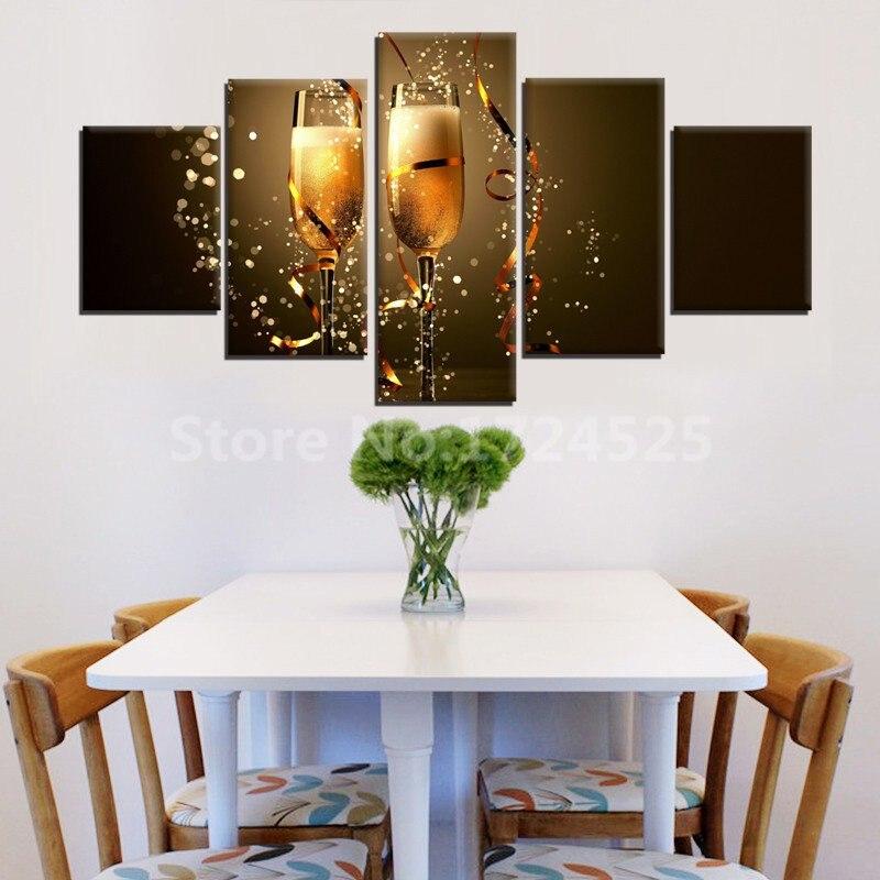 현대 추상 5 패널 맥주 캔버스 그림 벽 예술 홈 장식 건배 캔버스 거실 고품질 프레임이없는