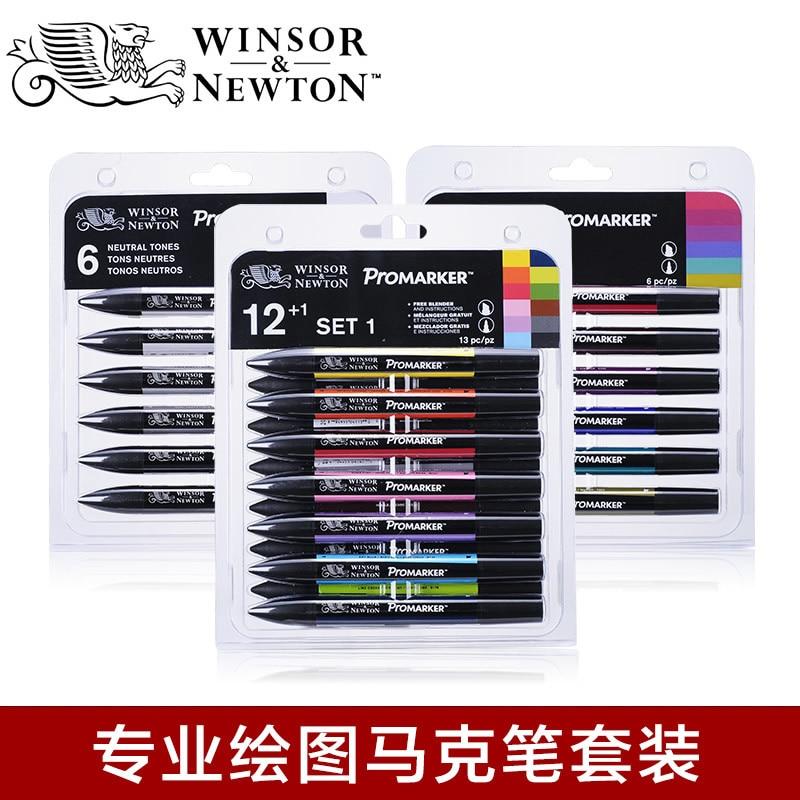 Windsor & Newton Promarke Profession Sketch Marker Pen 6/12 Color Suit Alcoholic Brush Pen For Drawing Manga Fashion Design