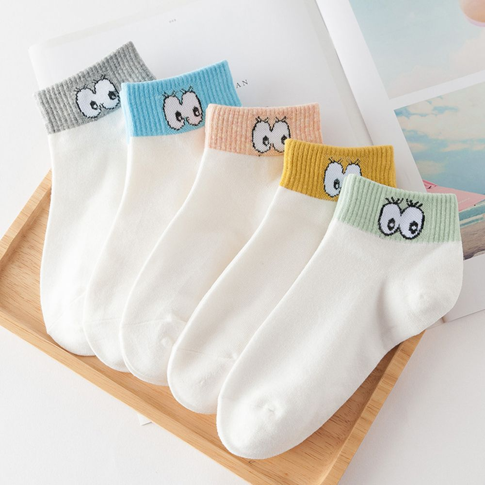1 Pair Women Cute cartoon eyes printed thin section invisible shallow mouth Soft socks Cute Novelty Funny Spring Summer Socks