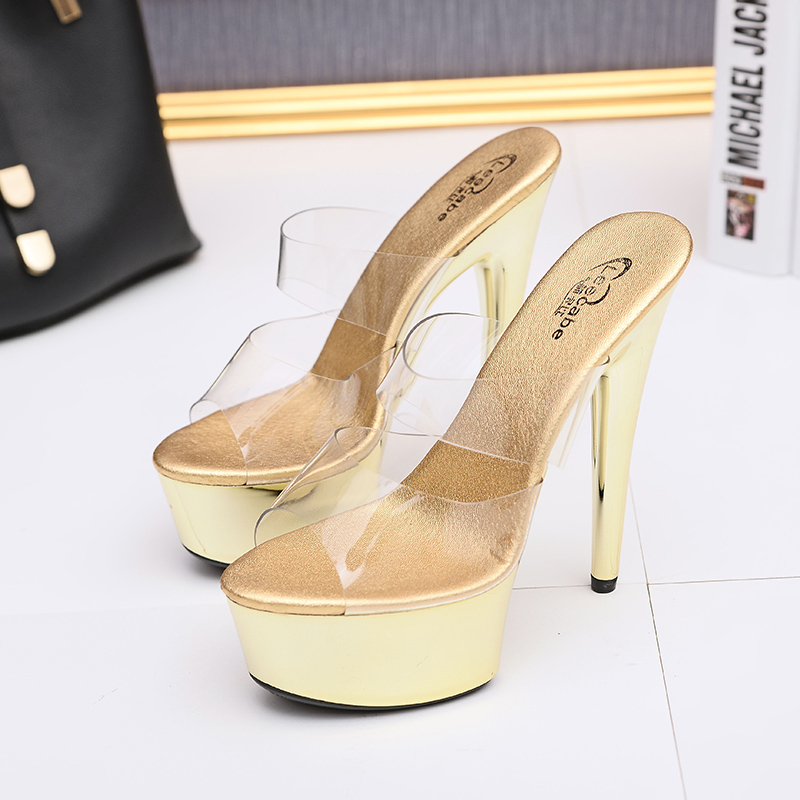 f96442f6f057 Leecabe Transparent Platform Shoes Sexy Dance Shoes 15 CM High Heels Sandals  Night Club Women Pole Dancing sandal Shoes