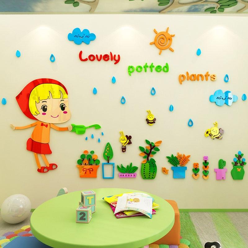 Bonne fille est arrosage plantes conception acrylique Stickers muraux bricolage maternelle enfants chambre mur décor Puzzle autocollant