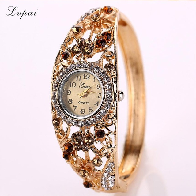 Lvpai Women's Watch Alloy Crystal Bracelet Flower Wrist Watch Women Clock Quartz