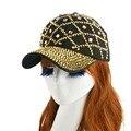 Высокое качество новый стиль золотого цвета горный хрусталь чистая дизайн весна лето девушки женщин украшения хип-хоп snapback бейсболки и шляпы