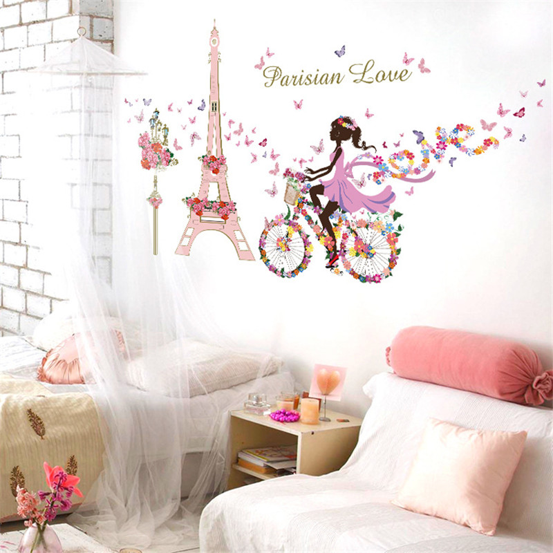 145*80 Paris Wall Stickers For Kids Rooms Home Decor Tower Flower Butterfly  Fairy Girl Riding Wall Decals Pvc Mural Art In Wall Stickers From Home U0026  Garden ...