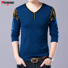 Autumn New High Quality Button V-Neck Pullover Men Clothing Knitted Warm Wool Cashmere Sweater Men Long Sleeve Shirt Pull Homme