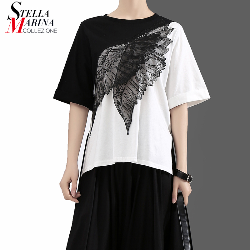 2018 Korean Style Summer Women Tee Top Hit Color Black White Patchwork Half Sleeve Eagle Wings Patches Girls Unique T-shirt 7002