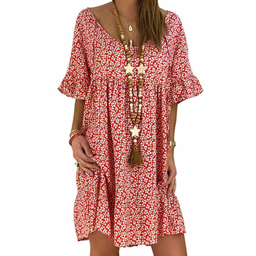 Sexy Dress 2019 Summer Mini Sundress Casual Loose O Neck Short Sleeve With Ruffle Boho Floral Print Vestidos Femme Plus Size #26