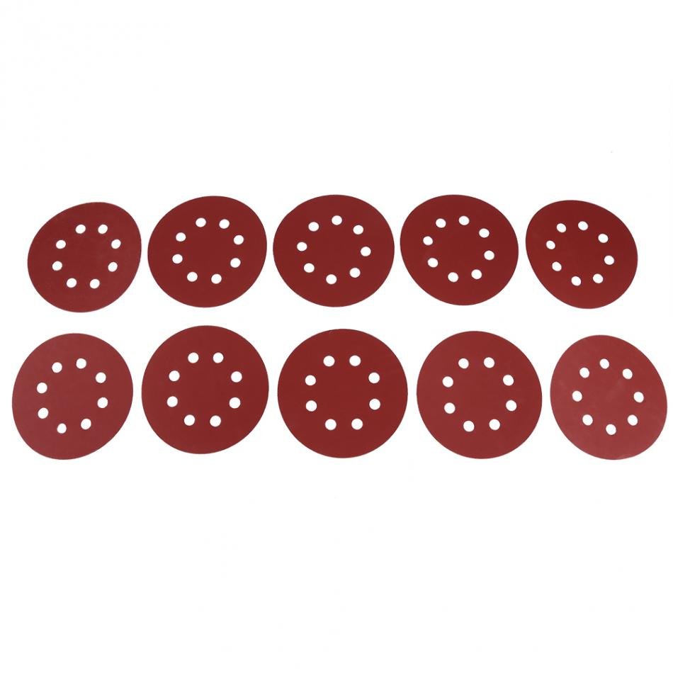 100# 10Pcs 125Mm 8 Hole Low Consumption High Wear Resisting Degree Round Shape Grit Papers Sanding Discs