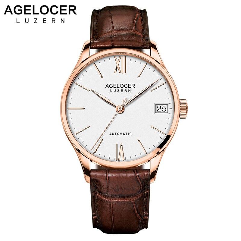 Супер Тонкий Деловые часы повседневное наручные Бизнес швейцарский AGELOCER брендовые кожаные мужская мода 2018 relojes hombre