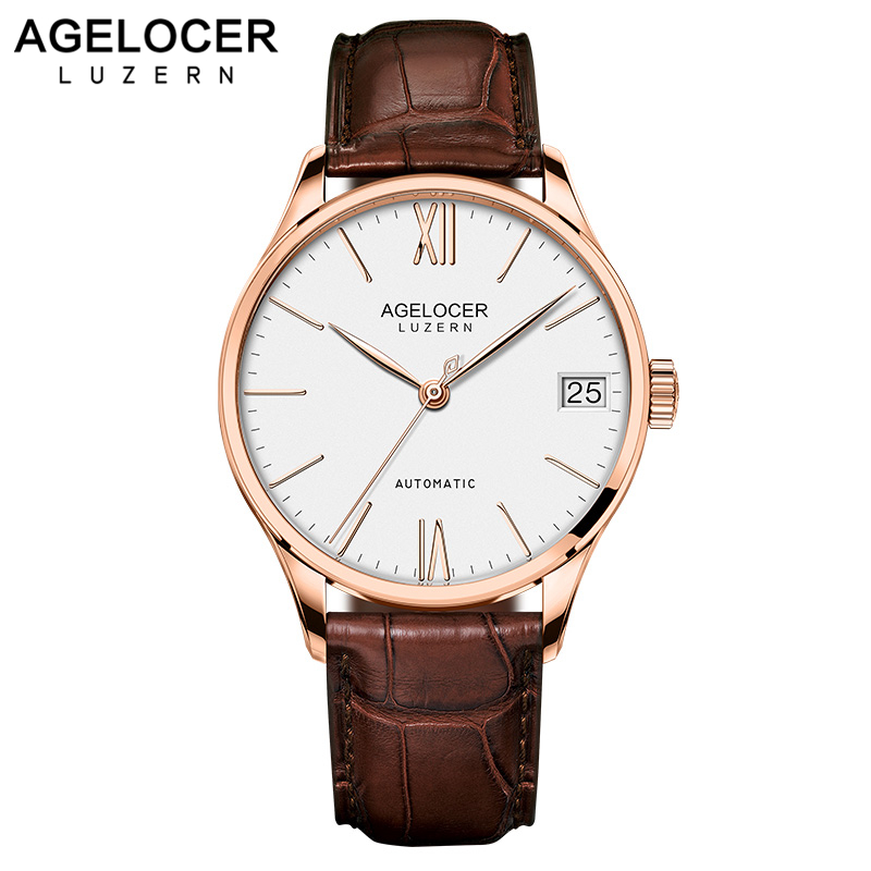 Super Slim Mechanical Watches Casual Wristwatch Business SWISS AGELOCER Brand Leather Watch Men's Fashion 2018 relojes hombre mens fashion business watch men ochstin brand genuine leather super slim casual quartz wristwatch relojes hombre